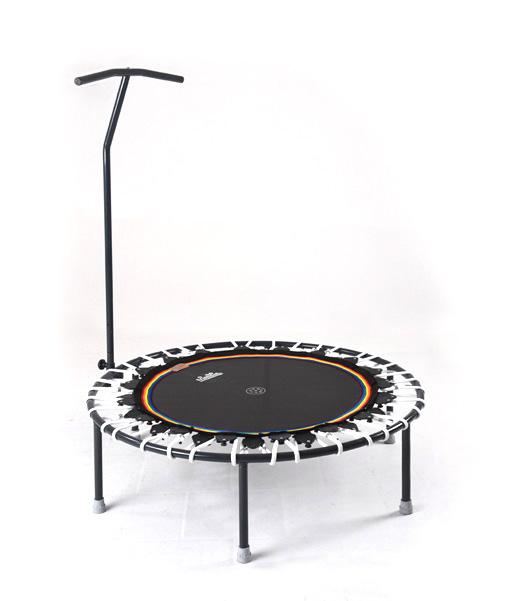 Trimilin-jump Minitrampolin mit Haltestange, Sprungmatte schwarz, Gummikabel weiss, mit Vario-System